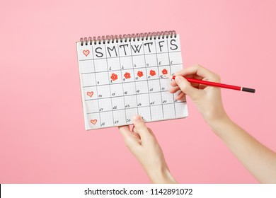 Close up female holds in hand red pencil, female periods calendar for checking menstruation days isolated on trending pink background. Medical healthcare gynecological concept. Copy space. Mock up.