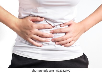 Close up female suffer stomach pain