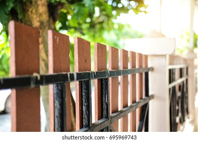 Close up fence home with sunlight