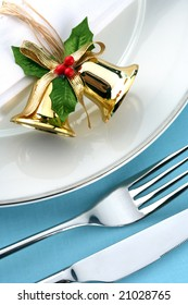 close up of a festive place setting