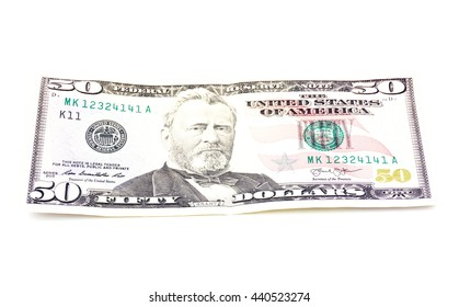 Close up of fifty dollar isolate on white background.