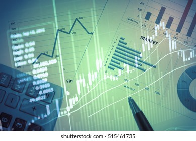 Close up of finance business graph which including of Up trend and Down trend. Business to grow in the active high trend and low trend. Growing business graph with rising up trend.