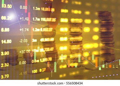 Close up of finance business graph which including of Up trend and Down trend. Business to grow in the active high trend and low trend. Growing business graph with rising up symbol.