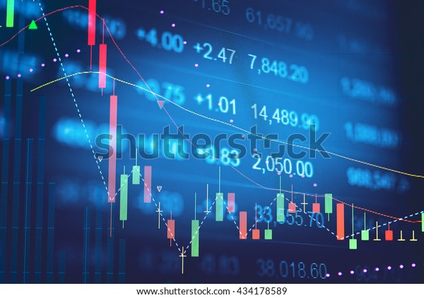 Close up of finance business graph which including of Up trend and Down trend . Business to grow in the active high trend and low trend. Growing business graph with rising up trend.