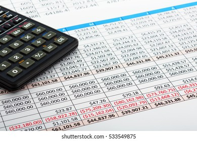 Close up of finance business sheet with calculator