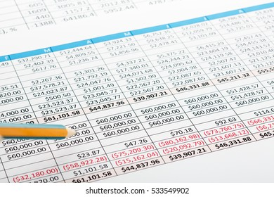Close up of finance business sheet with pencil