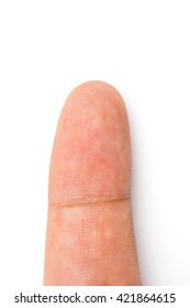 close up of finger print on a human thumb isolated white background