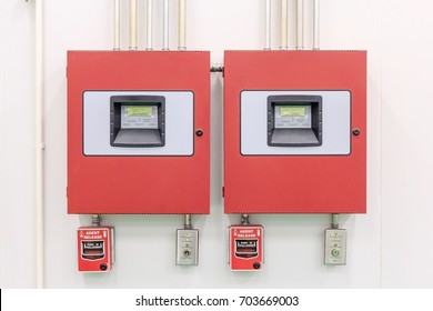 Close up of fire detection and extinguishing Control Panel - Fire Alarm Systems - Fire Protection.