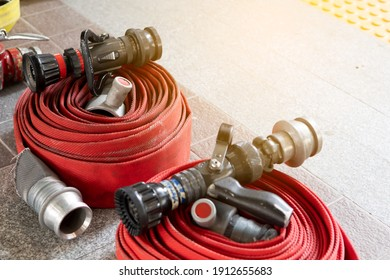 close up Fire hose pack prepare ready to use