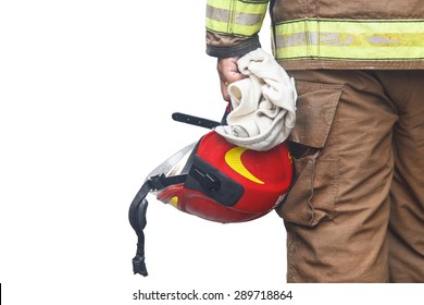 Close up firefighter holding red safety helmet isolated on white background
