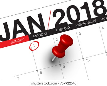 Close up of first day of the year 2018 on diary calendar. New year is the first day of the year in the Gregorian calendar.