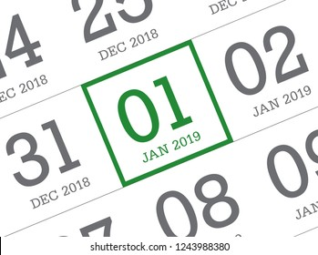 Close up of first day of the year 2019 on diary calendar. New year is the first day of the year in the Gregorian calendar.