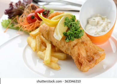 close up of Fish and chips with  tartar sauce