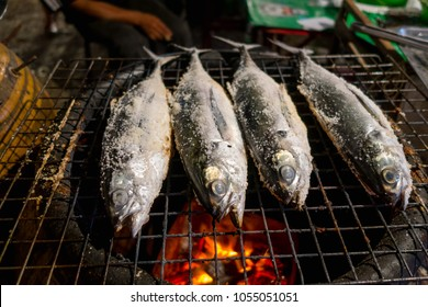 Close up of fish grilled located at Street food stalls on Nopparat Thara Road in AO NANG