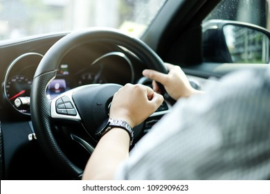 Close up Fist Honking while Driving with Aggressive Mood