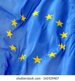 A Close Up Of A Flag Of Europe In The Wind