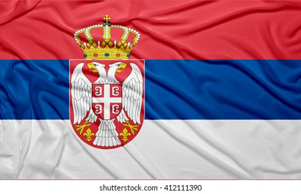 Close Up Flag of Serbia. Create by filters