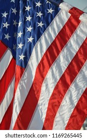 Close up of the flag of the United States of America.