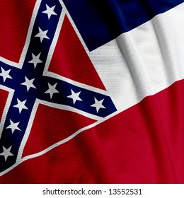 Close up of the flag of the US State of Mississippi, square image