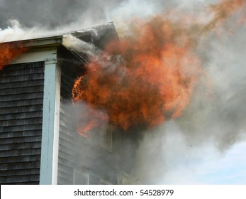close up of flames coming  house
