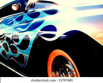 Close up of the flames on a vintage hot rod