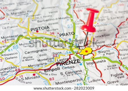 Close Florence Italy On Map Red Stock Photo (Edit Now) 282023009 ...
