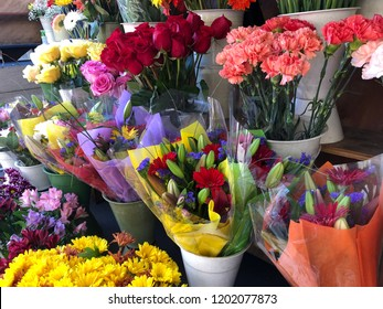 Close up of flower bouquets for sell