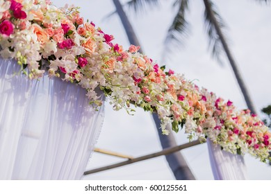 """Close up flowers arch."""