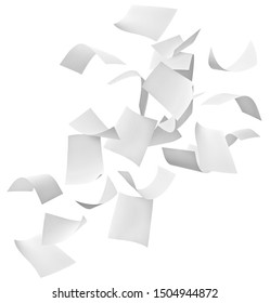 close up of flying papers on white background