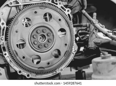 Close up Flywheel, black and white car engine