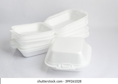 Close up of a foam food containers on white background