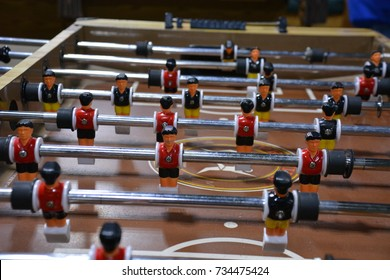 Close Up of a FoosBall Table