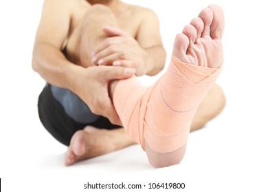 Close up of a foot with bandage.