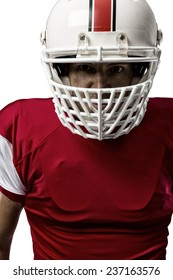 Close up of a Football Player with a red uniform on a white background.