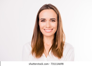 Close up formal portrait of successful gorgeous charming stunning entrepreneur, standing on the pure white background, with smooth skin, nice straight silky hair