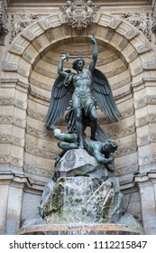 Close up of Fountain St Michel in the Latin Quarter, Paris, France
