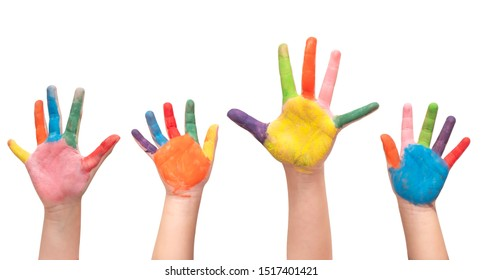 Close up at four children's hands painted isolate on white background with clipping path.