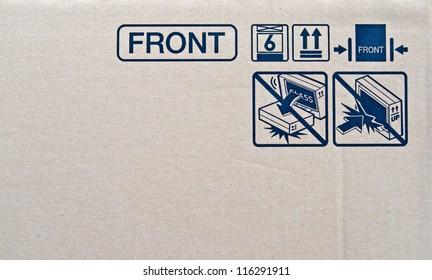 Close up of fragile symbol on cardboard