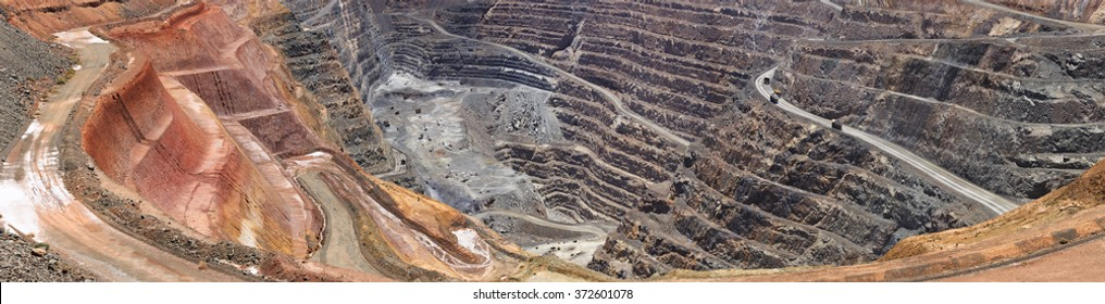 Close up fragment of open super pit gold ore mine in Western Australia as illustration of resource boom and heavy industry