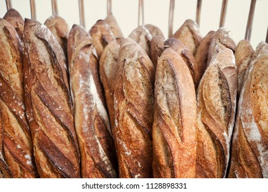 Close up of French bread baguette in a bakery