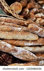 Close up of French breads in a bakery
