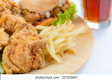 close up French fries, fried chicken, hamburgers for junk food menu