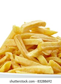 close up of french fries on white background with clipping path
