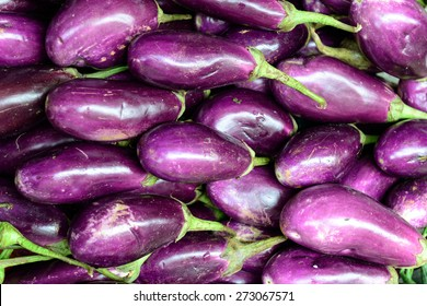 Close up of fresh aubergines (eggplant), selective focus.