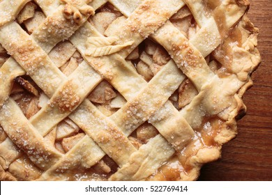 Close up of a fresh baked apple pie.