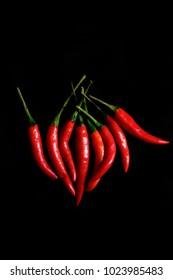 Close up of Fresh chilli on black background