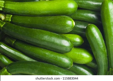 Close up of fresh courgettes or zucchini