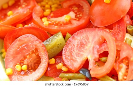 Close up of the fresh delicious vegetables in the salad