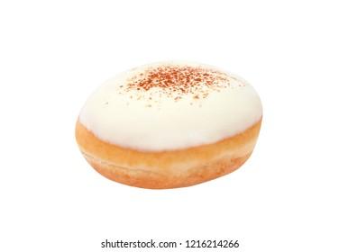 Close up fresh donut sugary isolated on white background