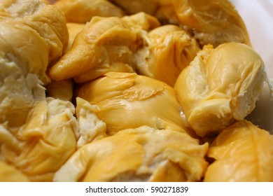 Close up of fresh durian yellow meat of delicious tropical fruit in Malaysia